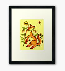Red Wolf in Summer - Sunflowers and Butterflies Framed Print