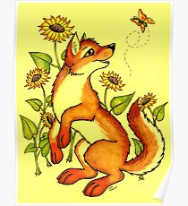 Red Wolf in Summer - Sunflowers and Butterflies Poster