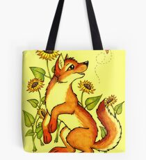 Red Wolf in Summer - Sunflowers and Butterflies Tote Bag