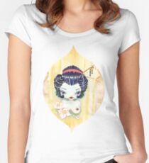 Japanese Girl with Lotus Flowers Women's Fitted Scoop T-Shirt