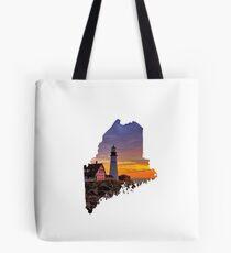 Maine-Leuchtturm-Sonnenuntergangkarte Tote Bag