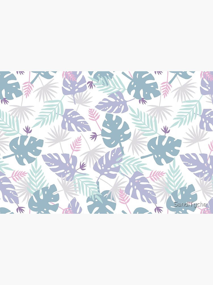 80s Purple Pastel Paradise Tropical Leaves by SandiTyche