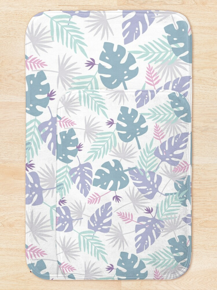 Alternate view of 80s Purple Pastel Paradise Tropical Leaves Bath Mat