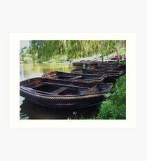 Boats on a lake Art Print