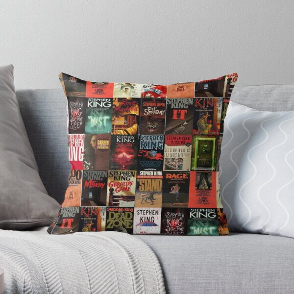 Stephen King Book Cover Collage Throw Pillow