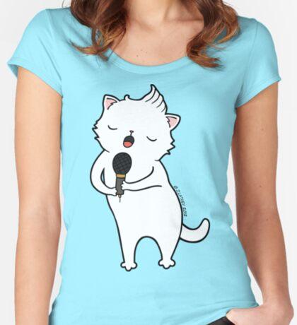 karaoke Cat Women's Fitted Scoop T-Shirt