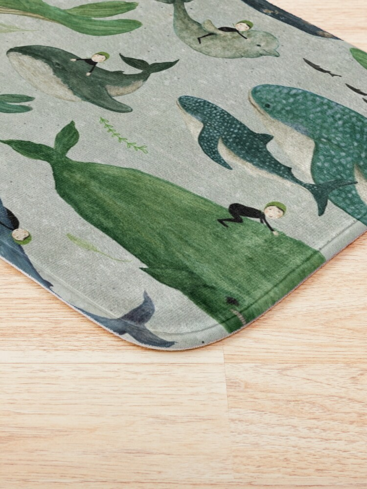 Alternate view of Whale rider {green and purple} Bath Mat