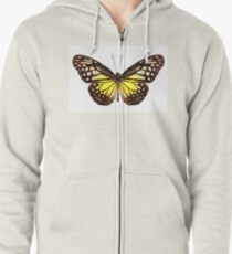 """Butterfly species Parantica aspasia common name """"Yellow Glassy Tiger"""" Zipped Hoodie"""