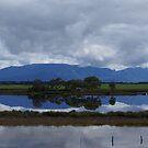 view across lake to the Grampians Victoria Australia by BronReid
