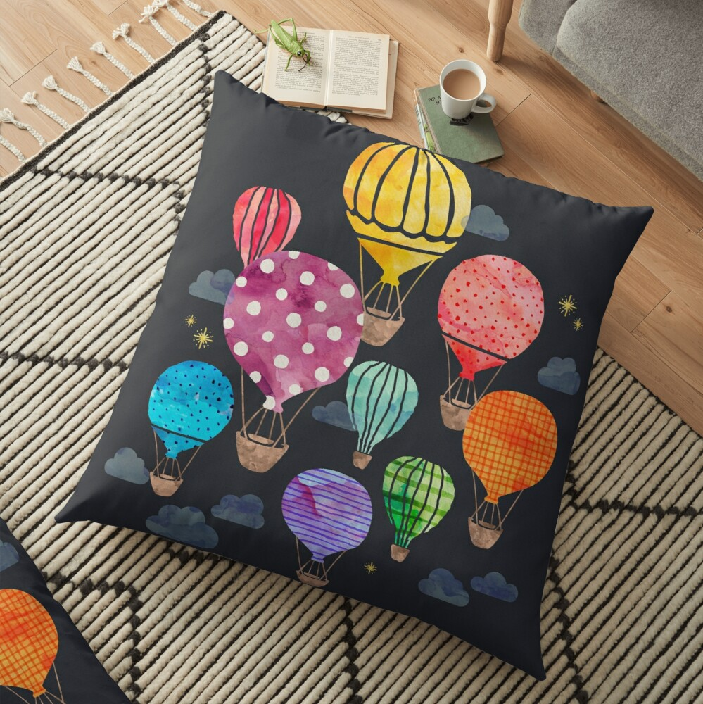 Heißluftballon Nacht Bodenkissen