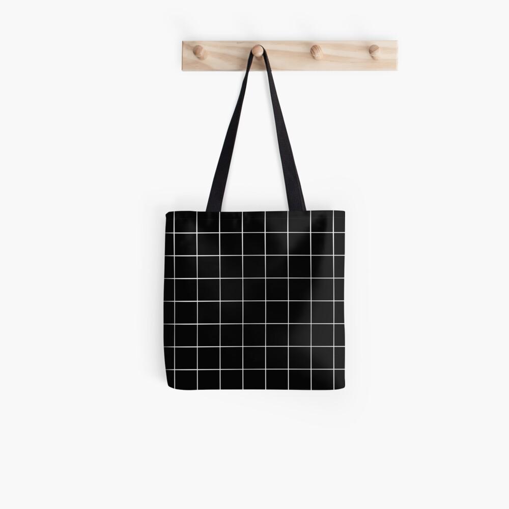 Black Grid Tote Bag