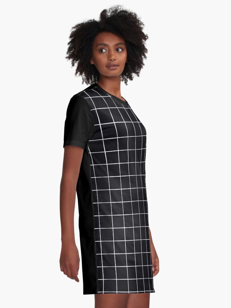 Alternate view of Black Grid Graphic T-Shirt Dress