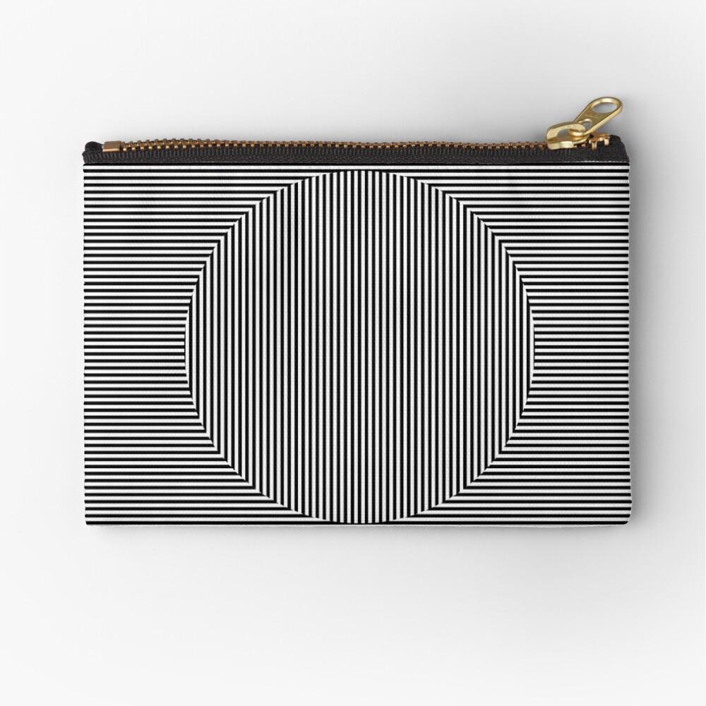 Optical art: flat parallel stripes create a moving circle Zipper Pouch