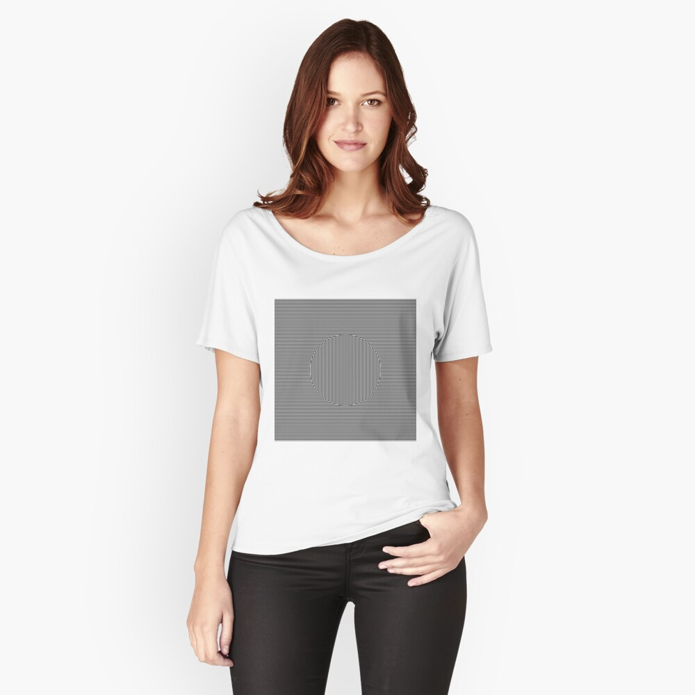 Optical art: flat parallel stripes create a moving circle Relaxed Fit T-Shirt
