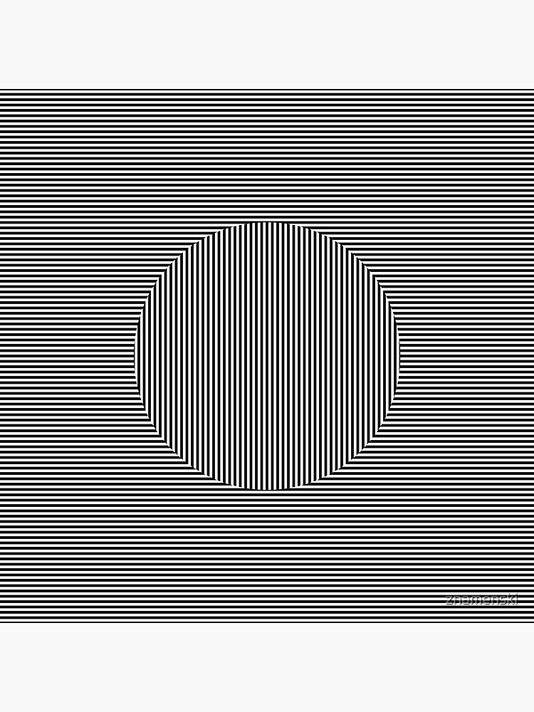 Optical art: flat parallel stripes create a moving circle by znamenski