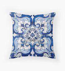 Antikes Azulejo-Fliesen-Blumenmuster Dekokissen