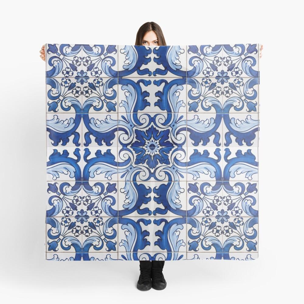 Antique Azulejo Tile Floral Pattern Scarf