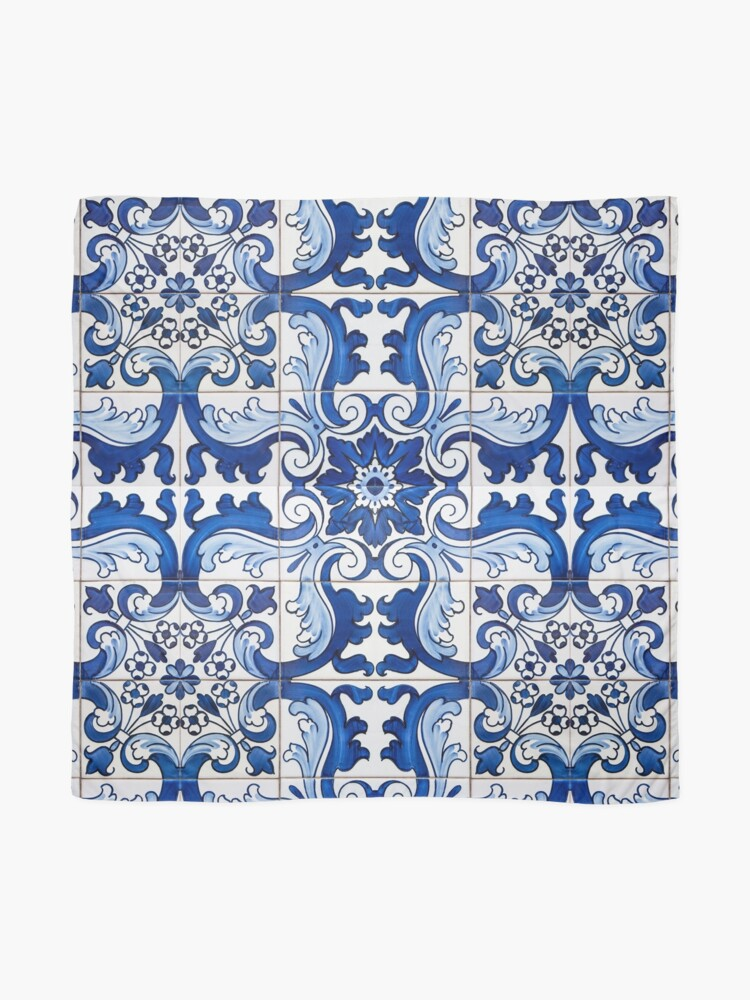 Alternate view of Antique Azulejo Tile Floral Pattern Scarf