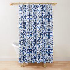 Antique Azulejo Tile Floral Pattern Shower Curtain