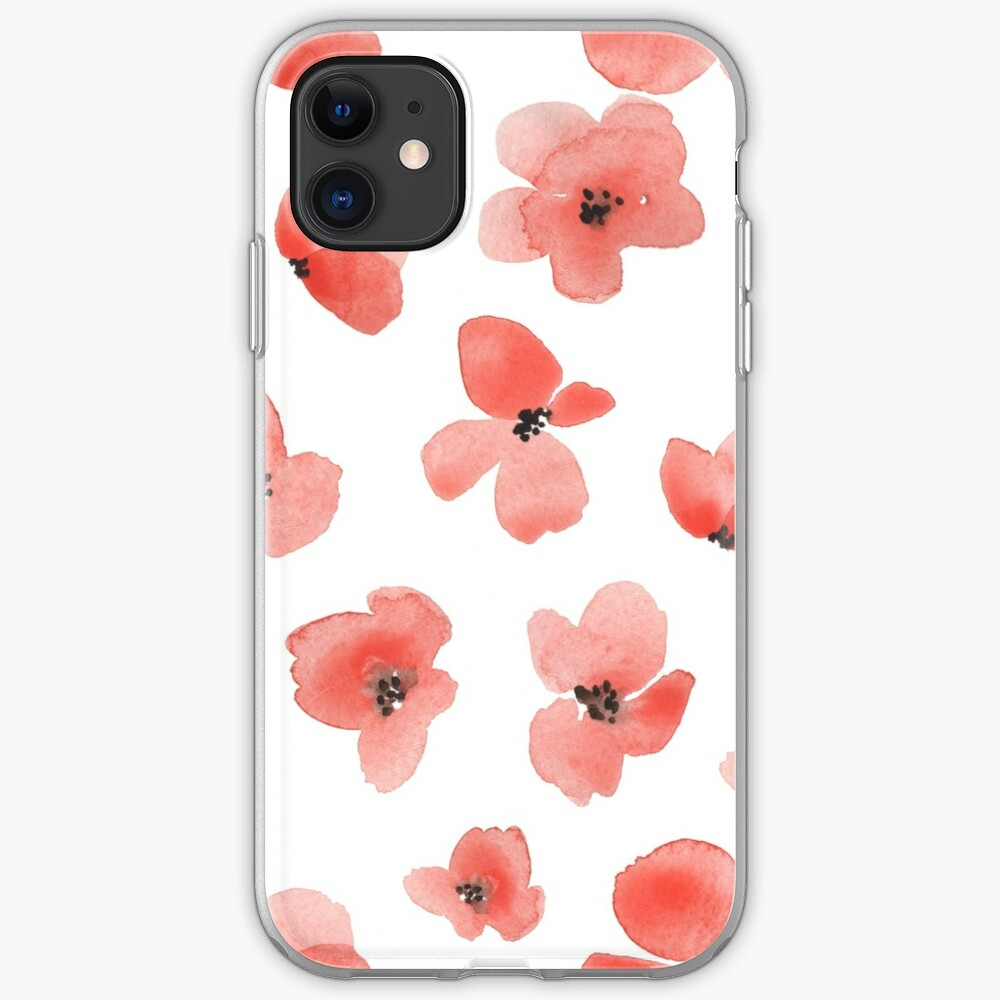 Floral Background With Red Watercolor Flowers Iphone Case Cover
