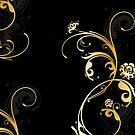 Goldene Ornamente mit Blumen von Christine Krahl