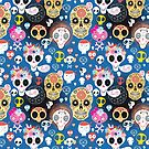 Festive pattern of funny skulls by Tanor