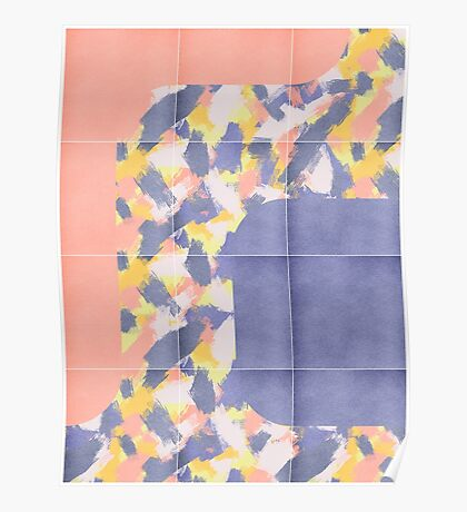 Messy Painted Tiles 01 #redbubble #midmod Poster