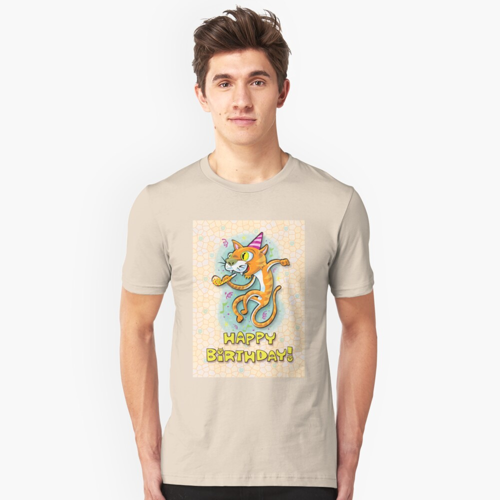 Jumping Happy Party Cat - Birthday Card Unisex T-Shirt Front