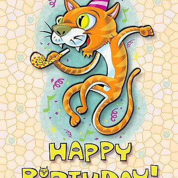 Jumping Happy Party Cat - Birthday Card by KenRinkel
