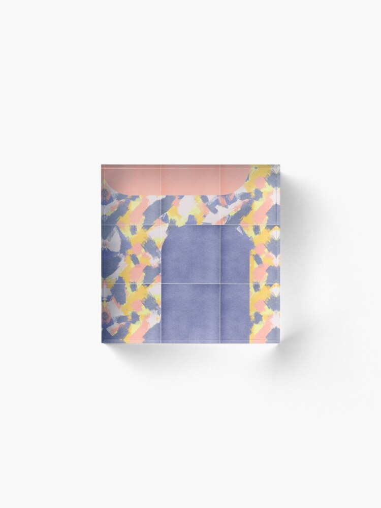 Alternate view of Messy Painted Tiles 02 #redbubble #midmod Acrylic Block