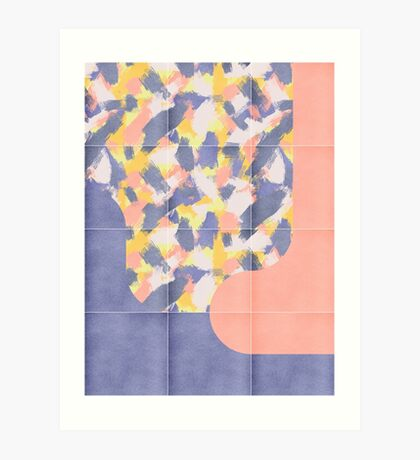 Messy Painted Tiles 03 #redbubble #midmod Art Print