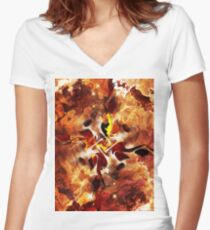 The Four Elements: Fire Women's Fitted V-Neck T-Shirt