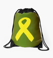 Yellow Ribbon with Camouflage Drawstring Bag