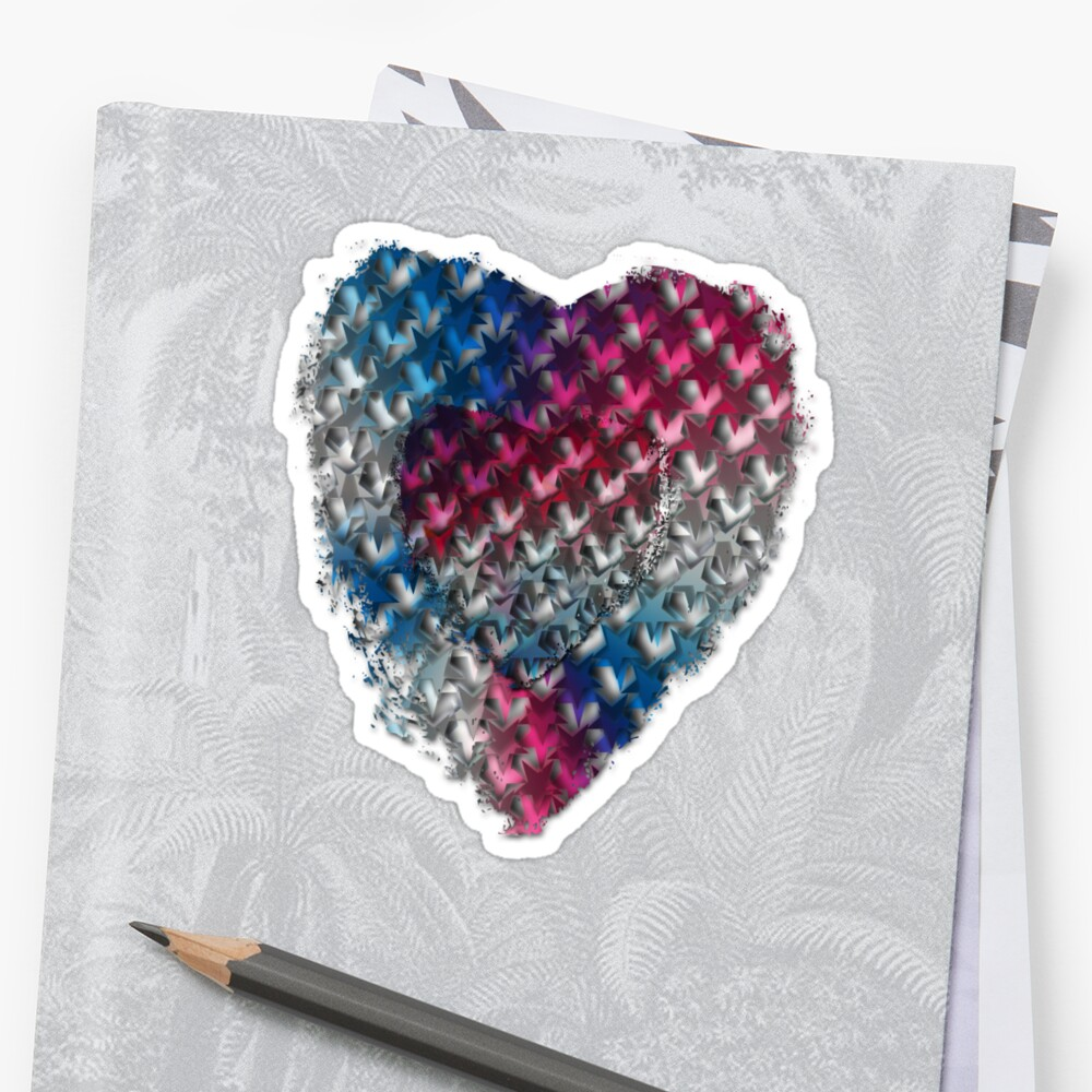 Red, White And Blue Stars In A Grunge Heart For Patriotic Accessories And Wearable Fun!   Sticker