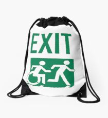 Emergency EXIT Sign, with the Accessible Means of Egress Icon and Running Man, part of the Accessible Exit Sign Project Drawstring Bag