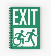 Emergency EXIT Sign, with the Accessible Means of Egress Icon and Running Man, part of the Accessible Exit Sign Project Spiral Notebook