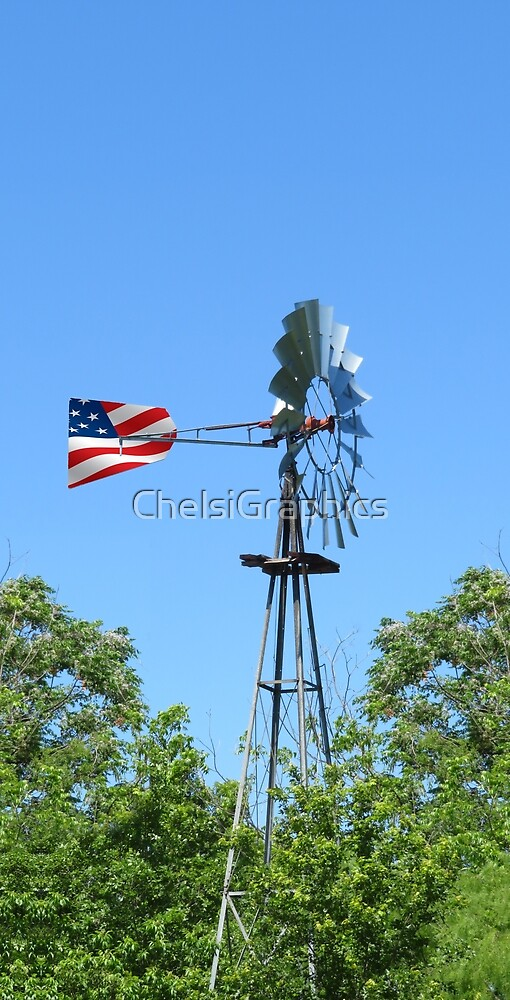 South Texas Windmill with Flag by ChelsiGraphics