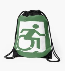 Accessible Means of Egress Icon, part of the Accessible Exit Sign Project Drawstring Bag