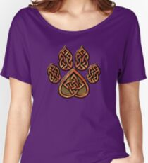 Celtic Knot Pawprint - Red Women's Relaxed Fit T-Shirt