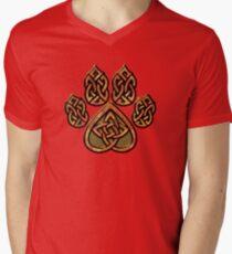 Celtic Knot Pawprint - Red Men's V-Neck T-Shirt
