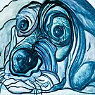 Blue Tick Hound in Denim Tones by EloiseArt