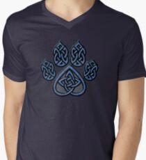 Celtic Knot Pawprint - Blue Men's V-Neck T-Shirt