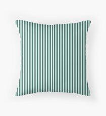 Celebration Town Dark Green and Front Porch White Mini Pinstripe Vertical Stripes Throw Pillow