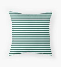 Celebration Town Dark Green and Front Porch White Small Horizontal Stripes Throw Pillow