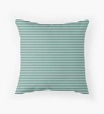 Celebration Town Dark Green and Front Porch White Mini Pinstripe Horizontal Stripes Throw Pillow