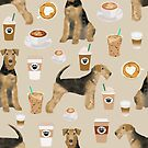 airedale coffee lover, airedale terrier dog, dog coffee, dog pattern, airedale terrier lover, airedale terrier dog, airedale mug, airedale bedding, airedale pillow by PetFriendly