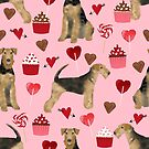 airedale terrier cupcakes love, cute hearts and dogs, girly dog, airedale leggings, airedale mug, airedale terrier phone case, cute phone case, dog by PetFriendly