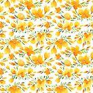 Aquarell California Mohn Muster (weiß / orange) von blursbyai