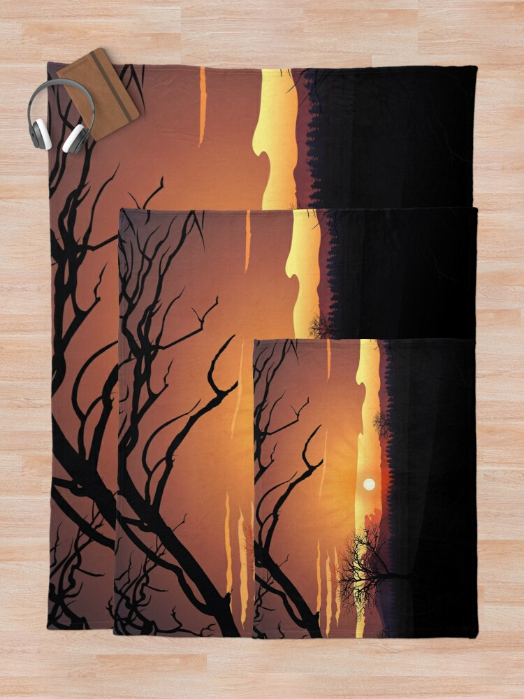 Alternate view of Sunset landscape layers Throw Blanket