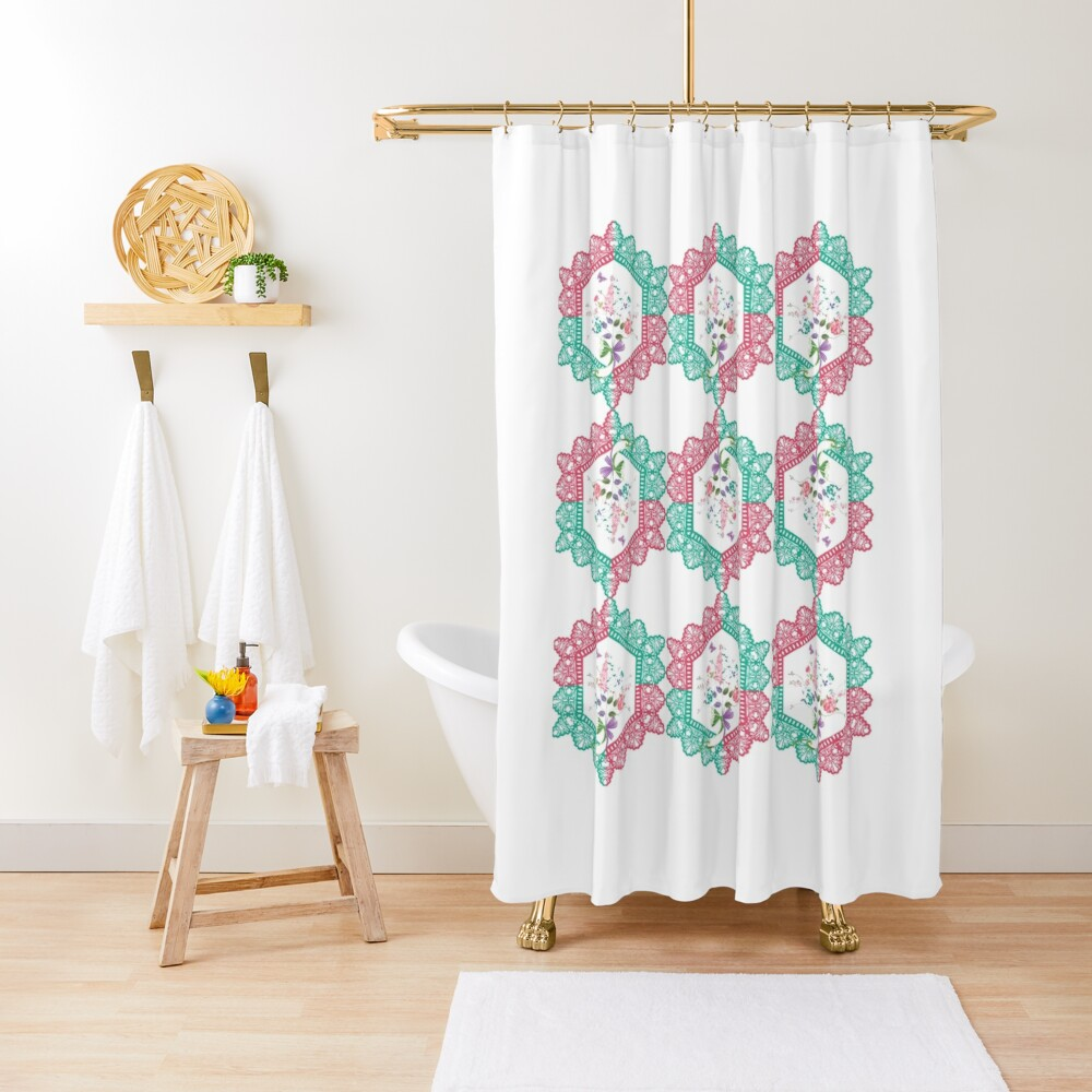 Embroidery, Motif, Visual arts Shower Curtain